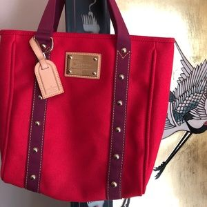 NWOT Louis Vuitton Red Canvas Tote Bag